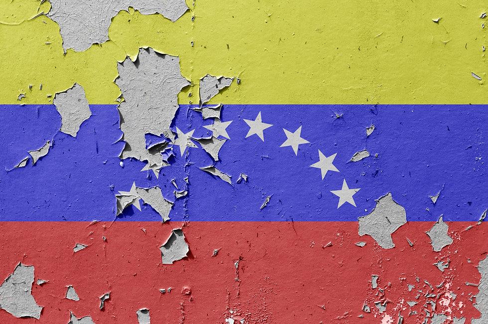 Flags of Venezuela is painted on brick w