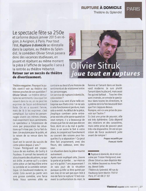 Portrait d'Olivier Sitruk dans Théâtral