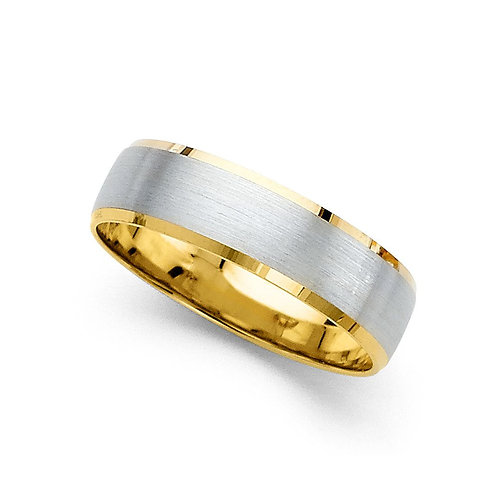 14k Two-tone Gold Ladies 6-mm Satin Finish Easy-fit Wedding Band