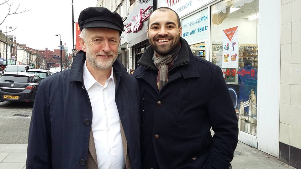 Adriel Kasonta with Jeremy Corbyn