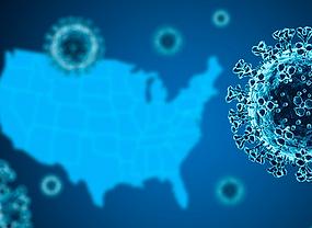 Coronavirus with U.S. map background