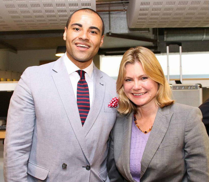 Adriel Kasonta with Justine Greening