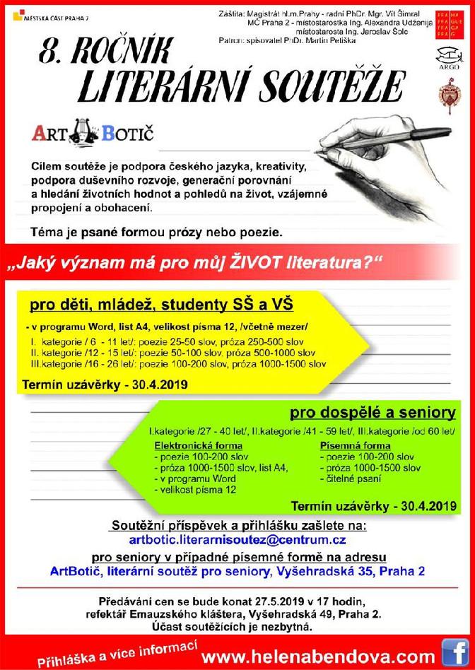 Vyhlášení 8. ročníku literární soutěže Art Botič