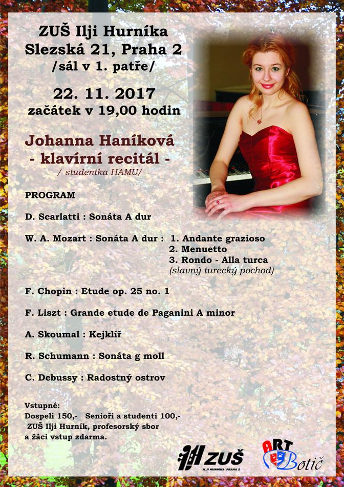 Johanna Haníková - klavírní recitál