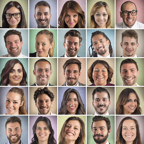Colorful portrait collage of many smilin