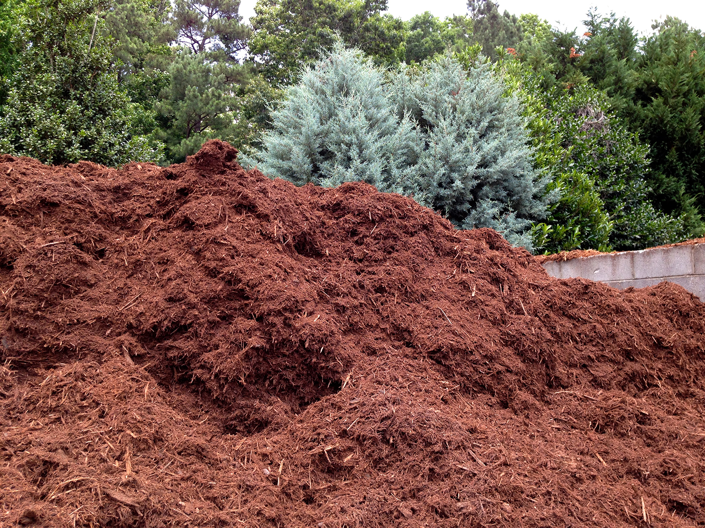 Triple-shredded hardwood mulch