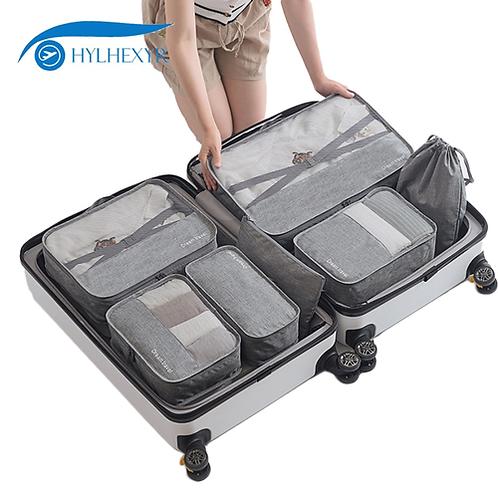 Hylhexyr 7PCS Men Travel Weekend Bag Set Duffle Bags Luggage Clothes Organizer P