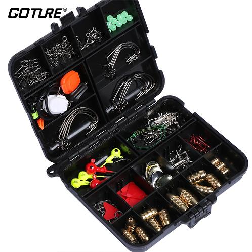 Goture 128pcs Fishing Accessories Hook/Spoon/Sinker/Swivel/Sequin/Leader Wire/St