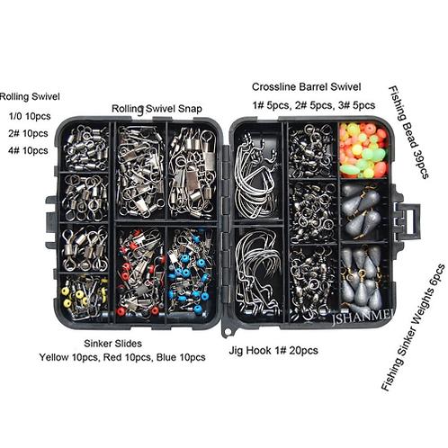 Easy Catch 160pcs/set Fishing Accessories Kit Including Jig Hooks Fishing Sinker
