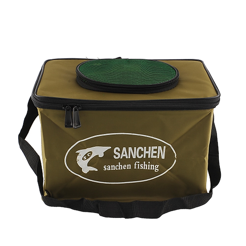 Good deal color random Fabric Portable Canvas square Fish Bucket Tackle Box Wate