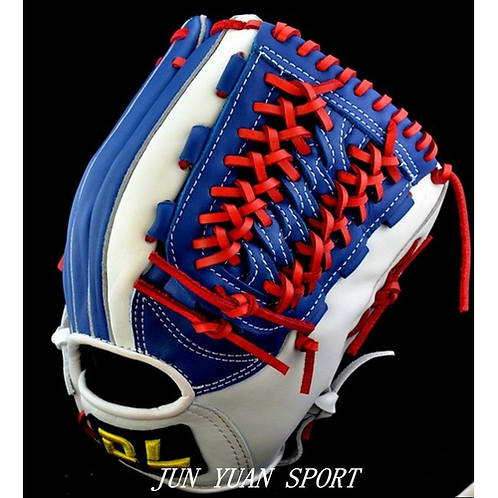 High quality Professional Weave cowhide leather baseball gloves tongue blue
