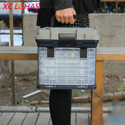 27*17*26cm 5 Layer PP+ABS Big Fishing Tackle Box High Quality Plastic Handle