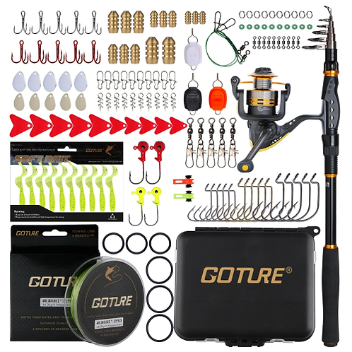 Goture Fishing Rod Combo Sword Telescopic Fishing Rods/Spinning Reel/Braided