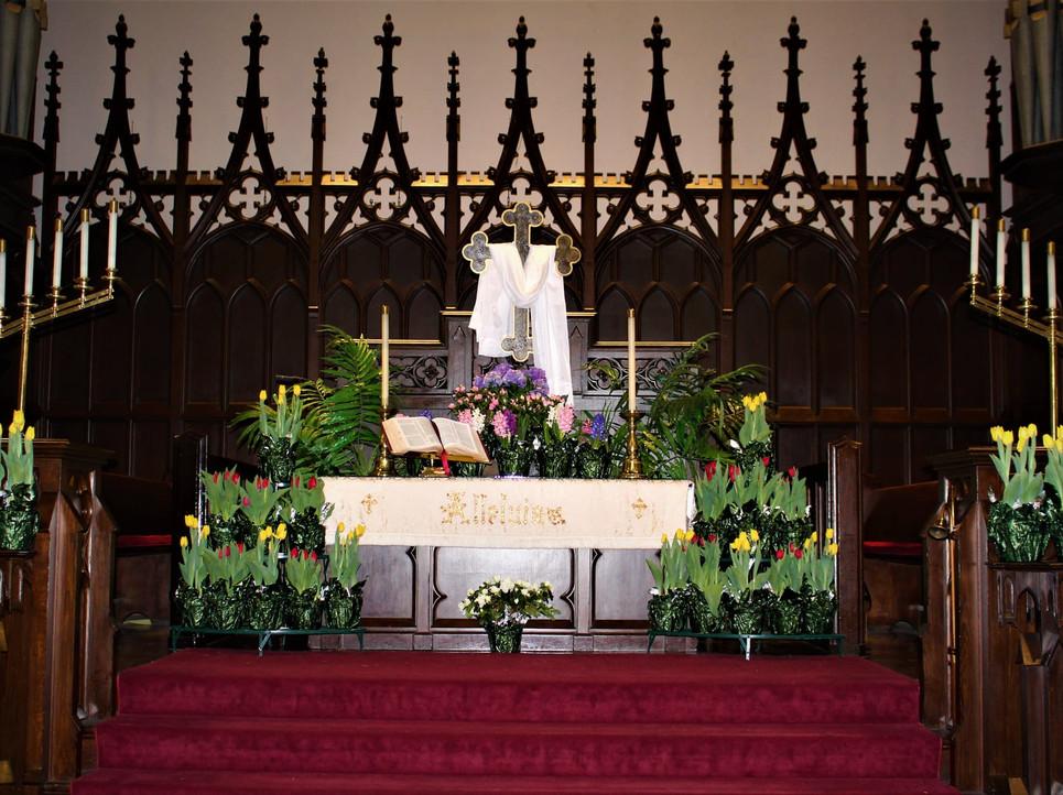 Church Altar on Easter Sunday