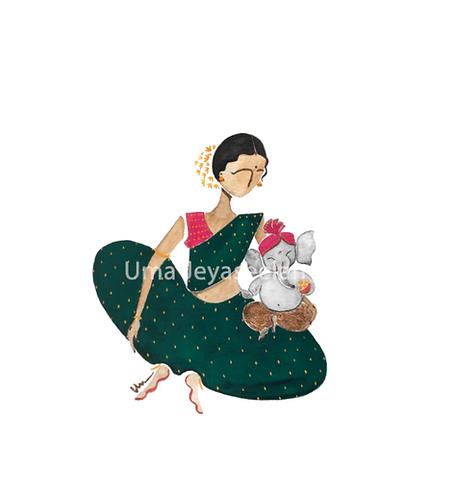 Parvati and Ganesh - Digital