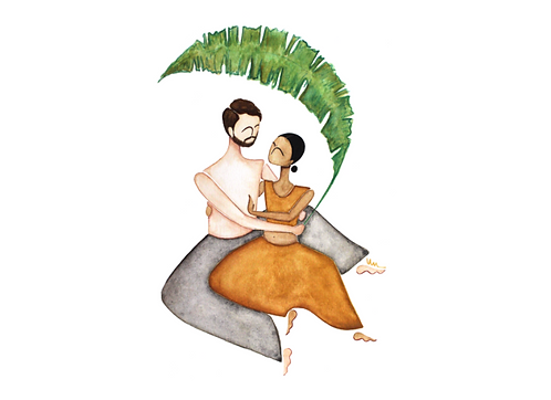 Couple under the leaf