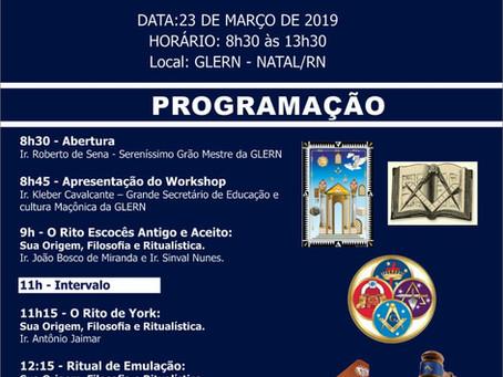 Grande Loja promoverá I Workshop de Ritualística Maçônica