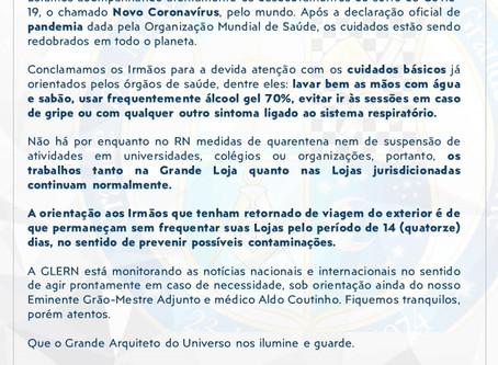 GRÃO-MESTRE EMITE NOTA SOBRE A PANDEMIA DE COVID-19 (NOVO CORONAVÍRUS)