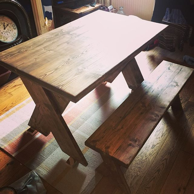 This table had to squeeze through a narr