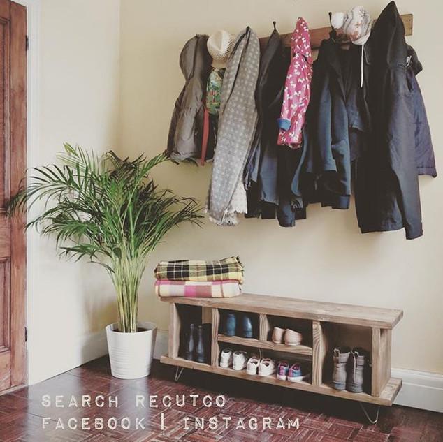 A matching shoe storage unit and coat ho