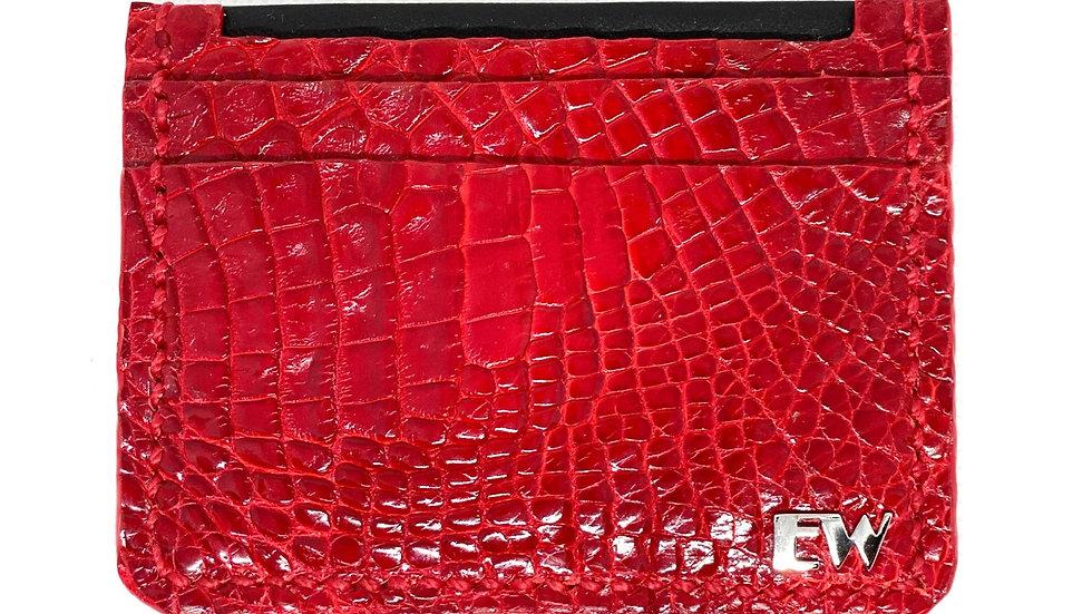 Porta Cartão Exotic Caiman - Horn Back - na cor vermelha