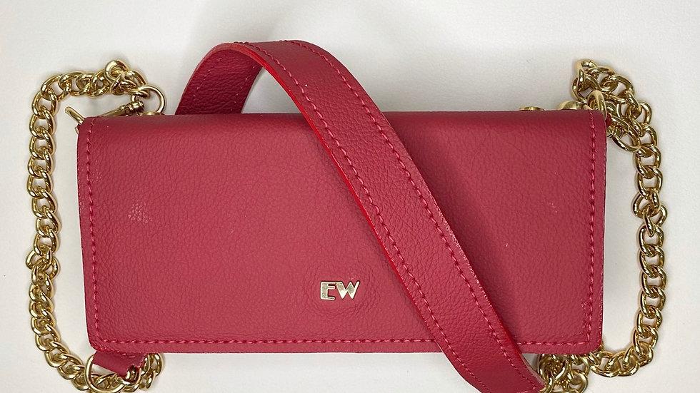 Bolsa Exotic Wallets Bovina - Vermelha com metais dourados
