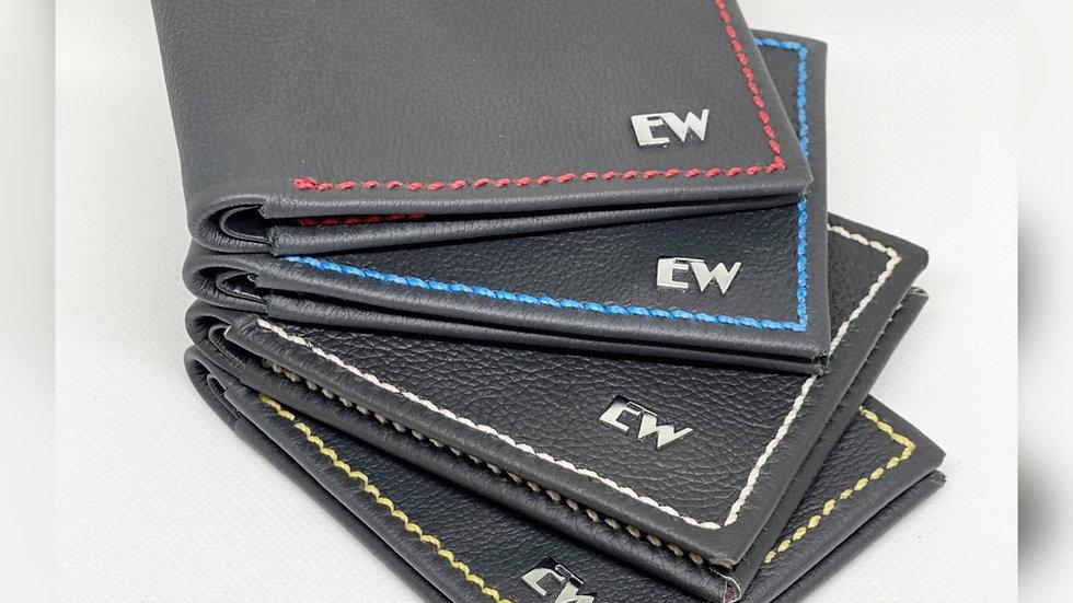 エキゾチックな牛の財布-パーソナライズされたステッチの黒