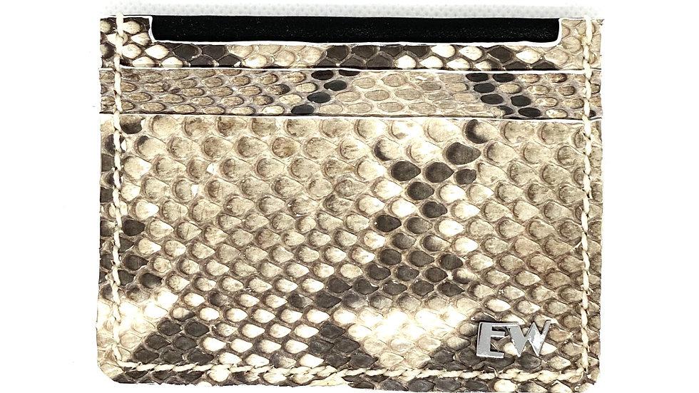 Porta Cartão Exotic Python Reticulatus - Black and White - Front cut
