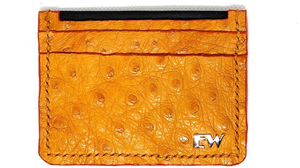 Porta Cartão Exotic Avestruz -  na cor telha com costura laranja