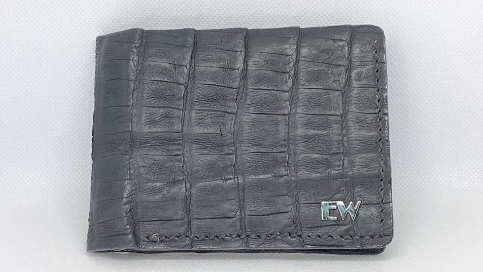 Carteira  Exotic Caiman - Belly - na cor preta