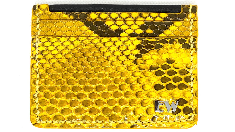 Porta Cartão Exotic Python Reticulatus - Black and Yellow - Front cut