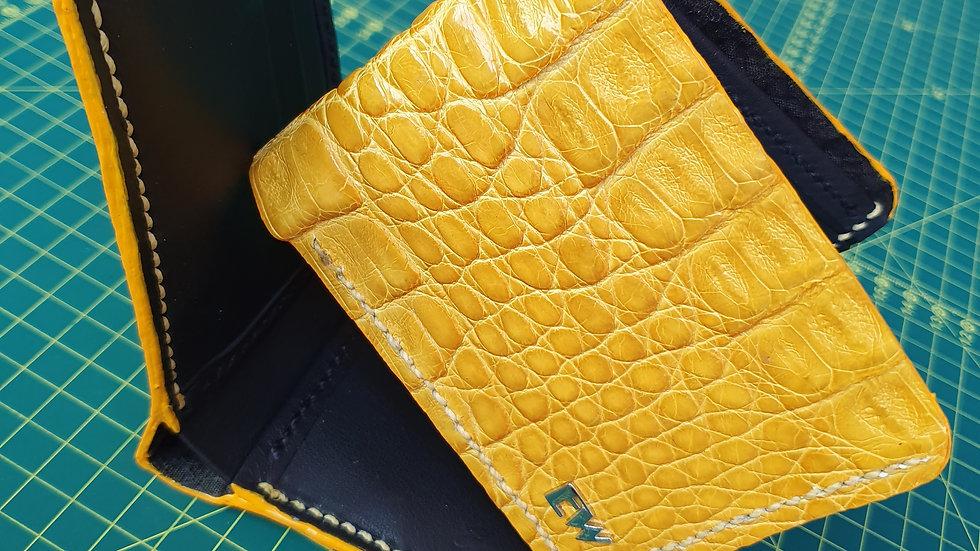 Carteira  Exotic Caiman - Horn Back - na cor amarela