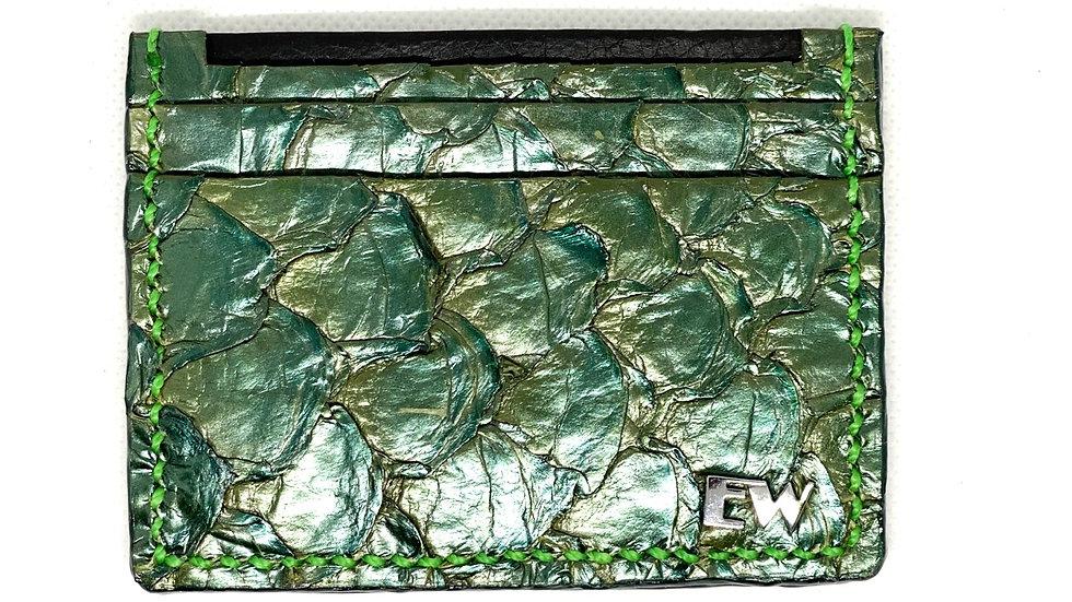 Porta Cartão Exotic Pirarucu - na cor verde com costura clara