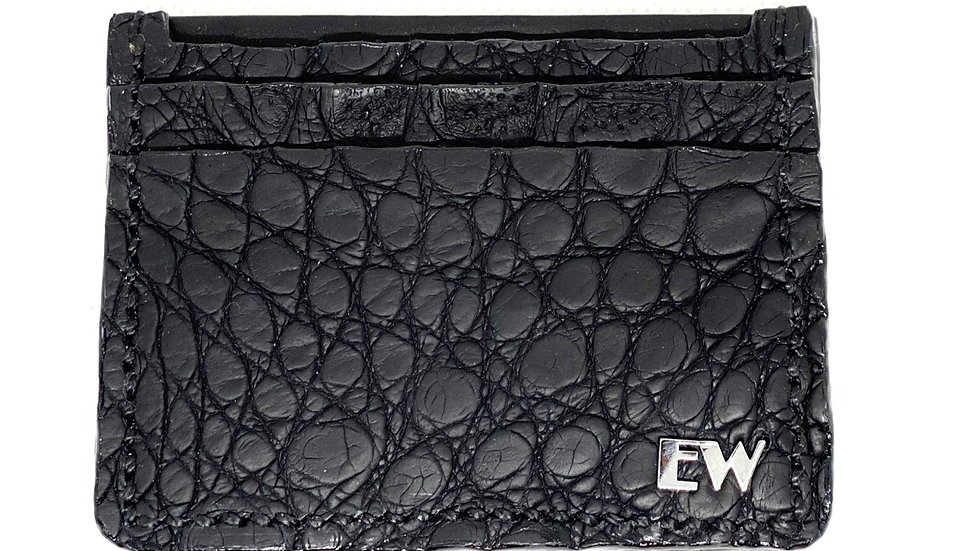 Porta Cartão Exotic Caiman - Horn Back II - na cor preta