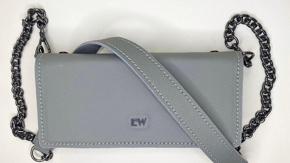 エキゾチックなウシの財布バッグ-グラファイトメタルのグレー
