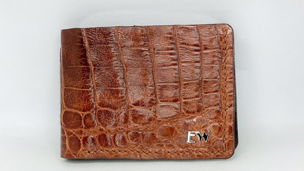 Carteira  Exotic Caiman - Horn Back - na cor marrom