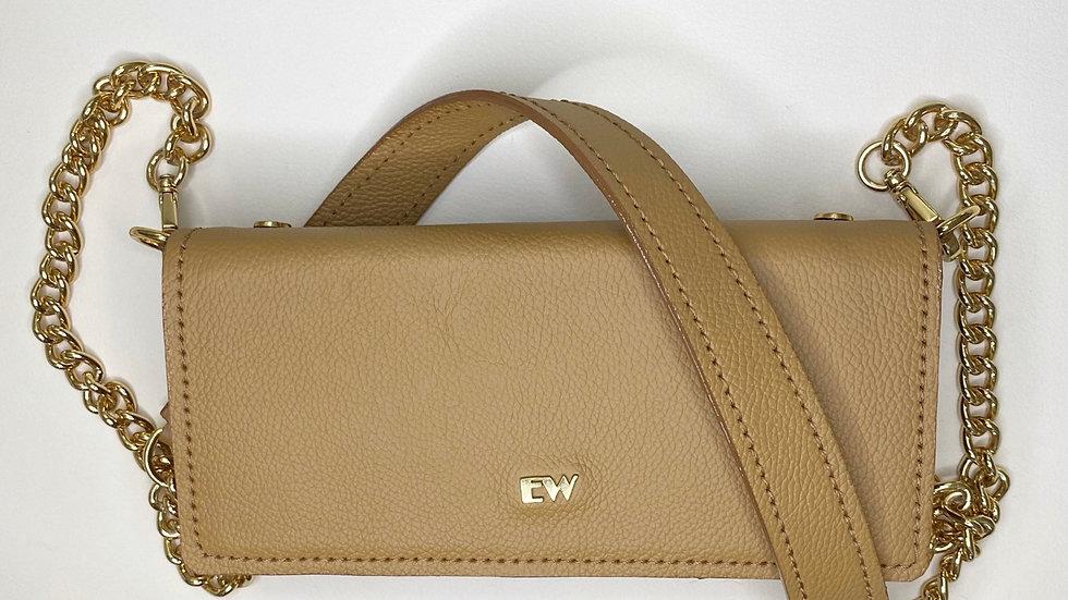 Bolsa Exotic Wallets Bovina - Caramelo com metais dourados