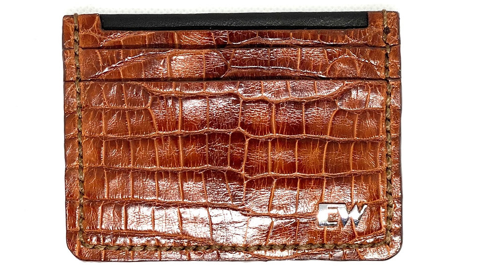 Porta Cartão Exotic Caiman - Belly II - na cor marrom