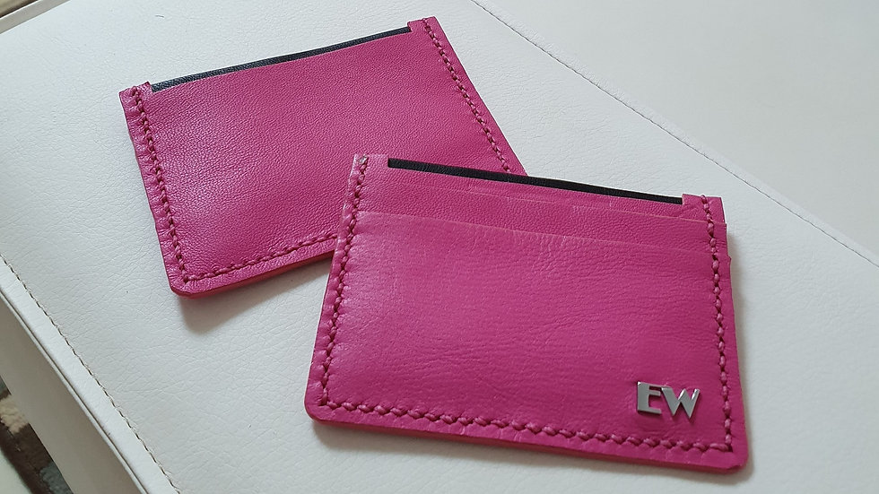 Porta Cartão Exotic Bovino - Pink