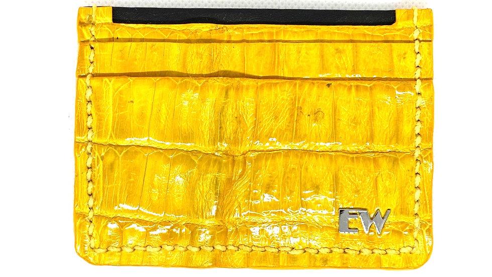 Porta Cartão Exotic Caiman - Belly - na cor amarela