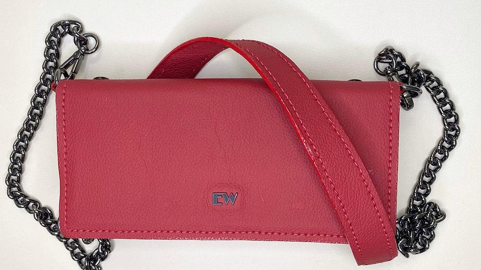 Bolsa Exotic Wallets Bovina - Vermelha com metais grafites