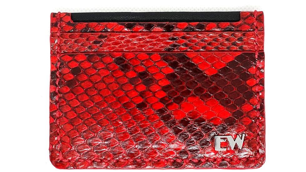 विदेशी पायथन रेटिकुलैटस कार्ड धारक - ब्लैक और रेड - फ्रंट कट
