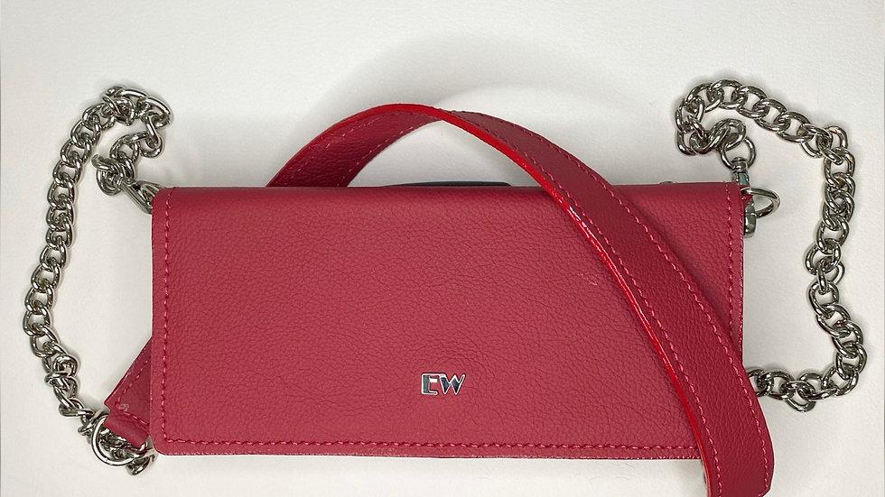 Bolsa Exotic Wallets Bovina - Vermelha com metais prateados