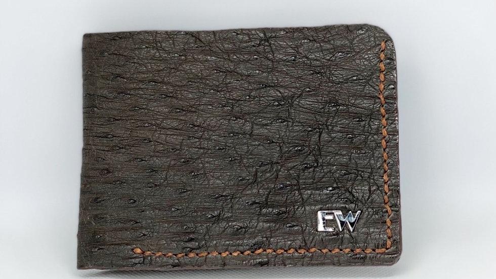 Carteira Exotic Avestruz - Marrom com costura marrom