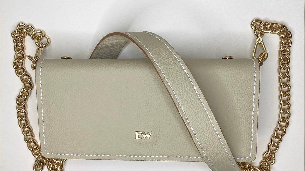 اكزوتيك بوزين حقيبة محافظ - بيج مع معدن مذهّب