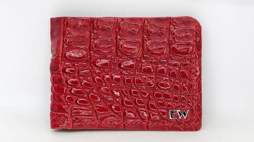 Carteira  Exotic Caiman - Horn Back - na cor vermelha