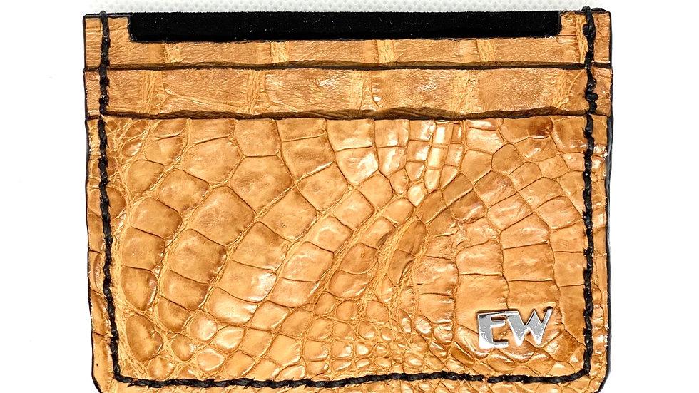 Porta Cartão Exotic Caiman - Horn Back - na cor telha