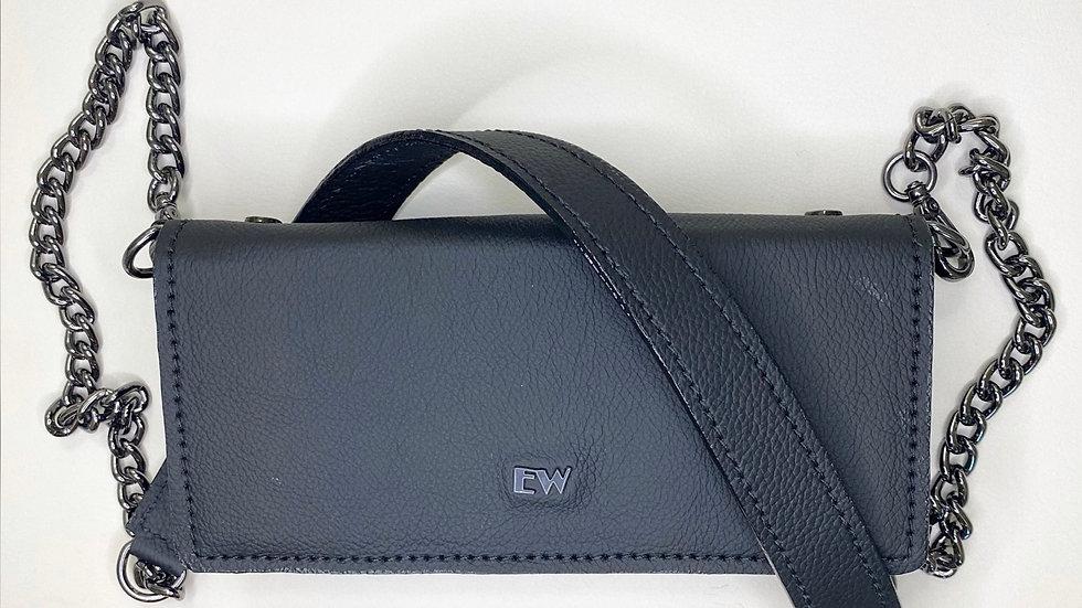 विदेशी बोवाइन वॉलेट बैग - ग्रेफाइट धातुओं के साथ काले