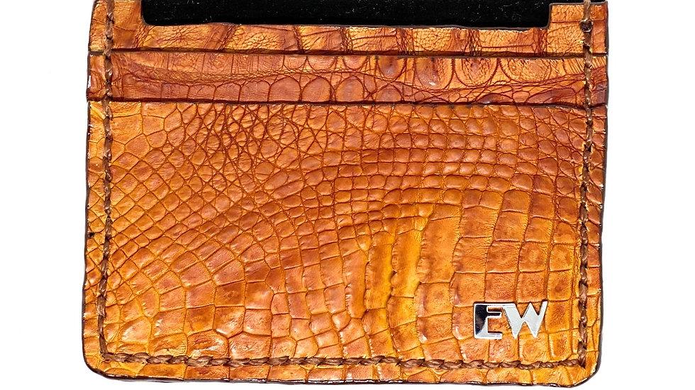 Porta Cartão Exotic Caiman - Horn Back - na cor whiskey
