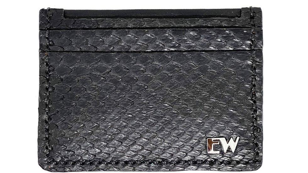Porta Cartão Exotic Python Reticulatus - Front cut - Black